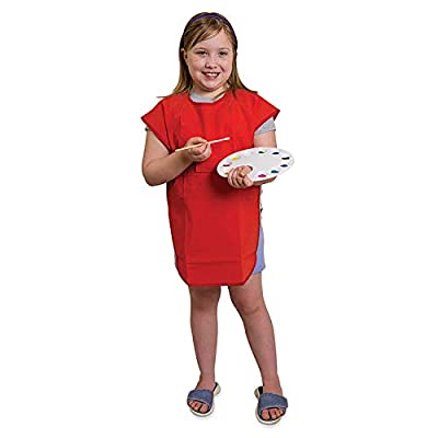 School Smart Vinyl Art Smock Apron, 22 x 16 Inches, Red (Pack of 5): Toys & Games