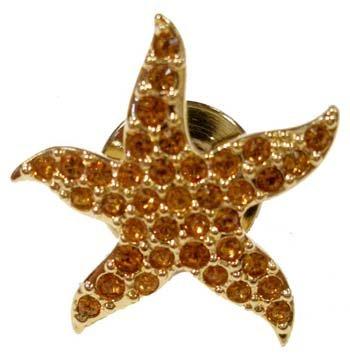 NEW 2005 SWAROVSKI STARFISH TACK PIN GOLD #828113 F/S with POUCH