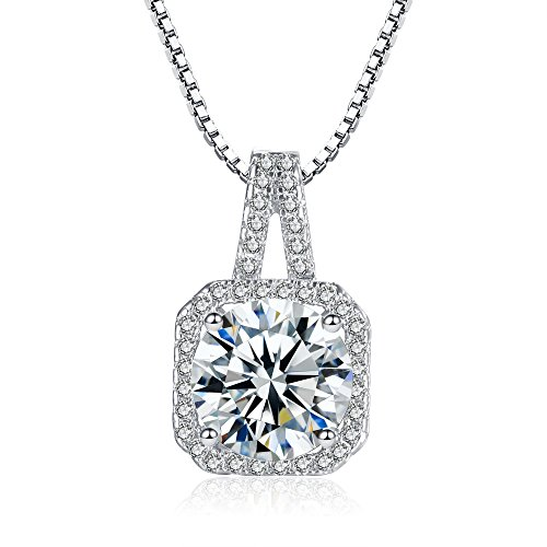Cubic Zirconia Pendant Necklace, 2ct Round Cut Clear Crystal White Gold Plated Silver Halo Pendant Necklace