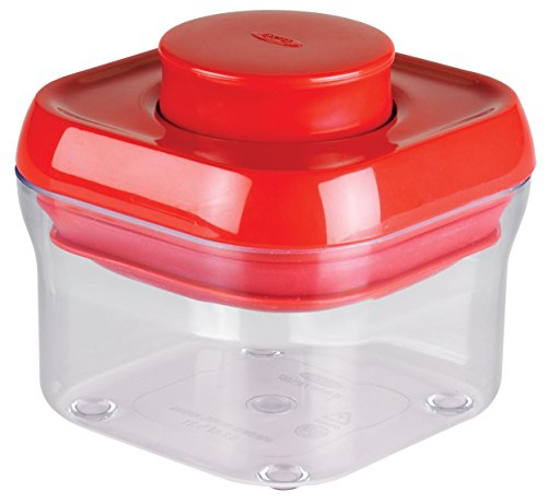 Airtight Grip Square Canister - OXO Good Grips Airtight POP Small Square Storage Container (0.3 Qt) RED