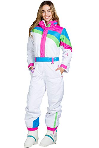 Women's Dayglow Neon Rainbow Ski Suit - Stylish High-Performance Ski Suit: - Suit Insulated