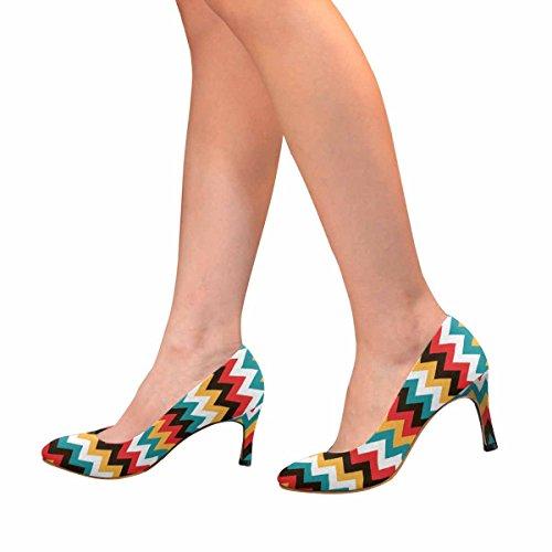 Modello Di Zig Zag Colorato Di Moda Classico Womens Pompa Del Vestito Di Alta Moda Brillante Modello Astratto, Chevron Sfondo