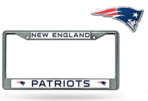 Rico Official National Football League Fan Shop Licensed NFL Shop Authentic Chrome License Plate Frame and Colored Auto Emblem (New England Patriots)