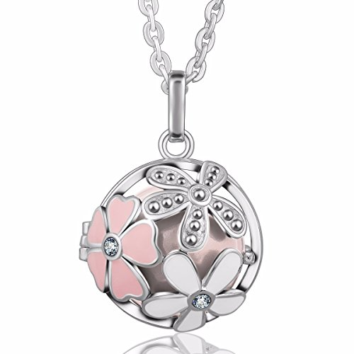 EUDORA Harmony Bola Summer Flower 20mm Musical Chime Pendant 30 inches Necklace