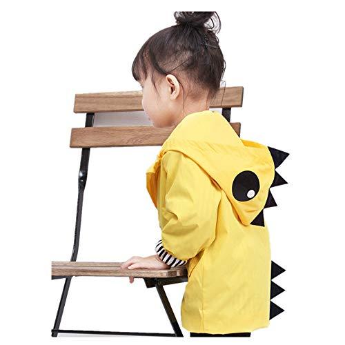 (Birdfly Unisex Kids Animal Raincoat Cute Cartoon Jacket Hooded Zip Up Coat Outwear Baby Fall Winter Clothes School Oufits (3T,)