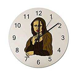 Stoned Mona Lisa Silent Non Ticking Wall Clock, Wooden Decorative Round Wall Clock Battery Operated