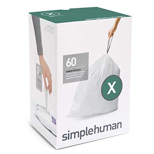 simplehuman Code X Custom Fit Drawstring Trash Bags, 80 Liter / 21 Gallon, 3 Refill Packs (60 (Square Stretch Ring)