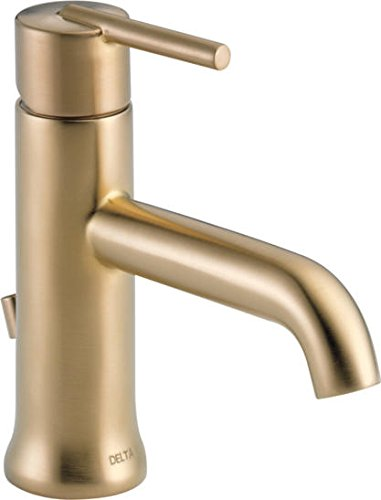 Delta 559LF-CZMPU Trinsic Single-Handle Bathroom Faucet with Metal Drain Assembly, Champagne Bronze