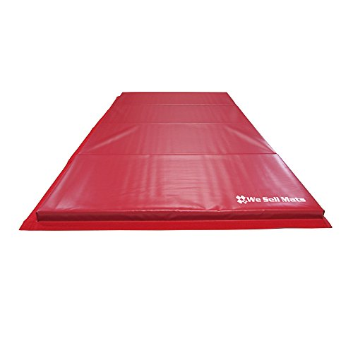 "We Sell Mats 1.5"" and 2"" Thick Gymnastics Tumbling Exercise Folding Martial Arts Mats with Hook and Loop Fasteners on 4 sides Crosslink PE Foam Core-24 Color/Size Choices"