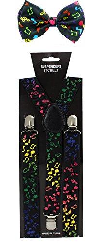 JTC Belt Women's Rainbow Music Notes Suspender Bow tie Se...