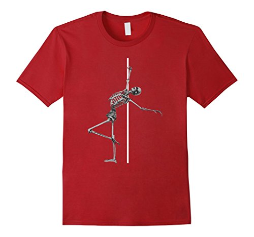 Mens Pole Dancing Skeleton Dabbing Skeleton Dab Hip Hop Skull Large Cranberry (Happy Halloween Pole Dance)