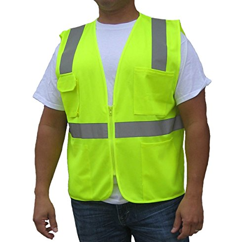 3C Products | Ultra Cool Safety Vest | Neon Green/Yellow | ANSI/ISEA Class 2 Compliant | Reflective Tape & Pockets SV2100