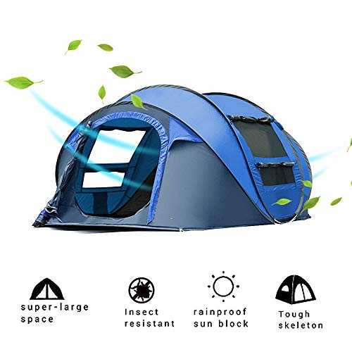 TINSAHW Pop up Tent for Camping 3-4 Person Dome Tent Family Shelter Portable Cabana Tent Waterproof Backpacking Tents…