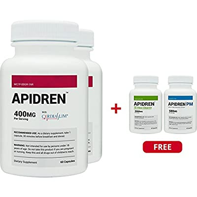 Apidren 2 Pack With Apidren 72 & Apidren PM Combo Pack - With CliniSlim - Best Diet Pills for Healthy Weight Loss, Detox Cleanse & Night-Time Weight Loss