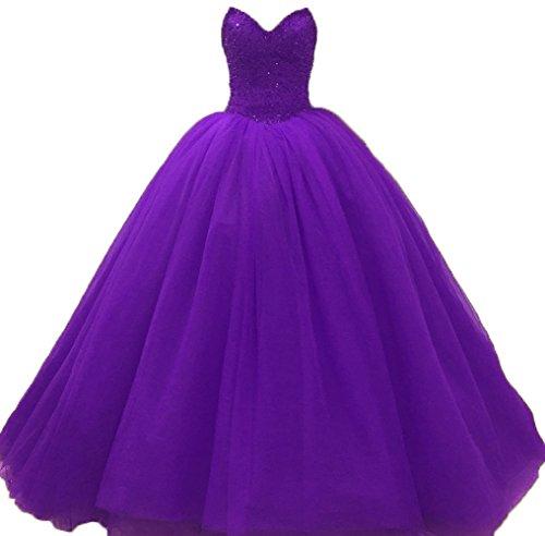 Bessdress Perles Chérie Robes De Bal Princesse 2018 Robe De Bal En Tulle Pageant Bd451 Violet