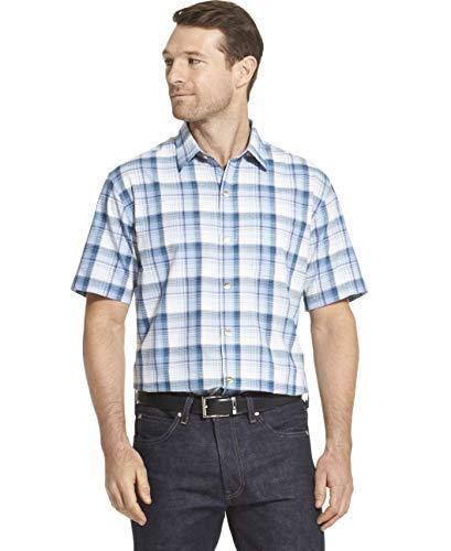 Van Heusen Men's Air Texture Short Sleeve Button Down Shirt, Blue Colony, ()