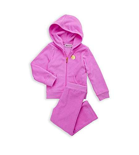 Juicy Couture Girls 2 Pc Classic Terry Hoodie & Pant Jog Tracksuit Set (12 - 18 Months) ()