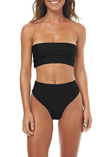 Gemijack Womens Bandeau Bikini High Waisted Swimsuit Sexy Two Piece High Cut Bathing Suit