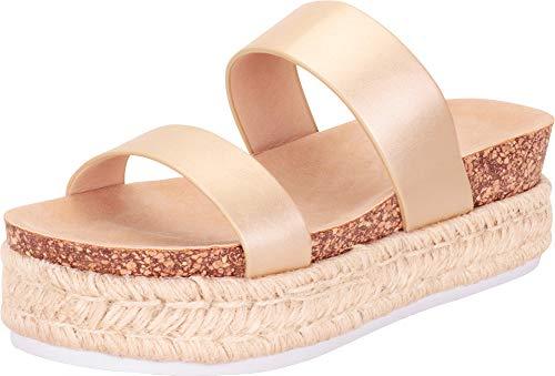 Platform Woven Gold - Cambridge Select Women's Two-Strap Chunky Espadrille Flatform Slide Sandal,8.5 B(M) US,Gold PU