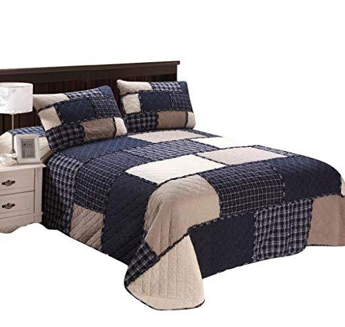 Artextile Blue Ruffles Patchwork Reversible Coverlet Bedspread 3-Pieces Quilt Set ,Queen Size