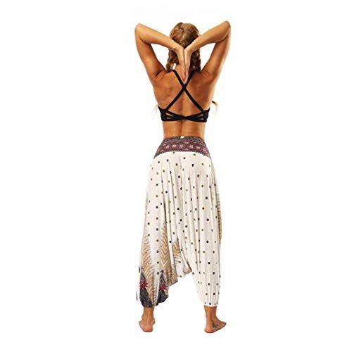 Pantalons imprimé Ornement Combinaison Pantalon Décontractée Mode Coton Pantalon Sarouel de de Été Bloomers Yoga Plage Blanc Longra Femmes Bouffant Boho Pantalon Femmes Sarouel Pantalon xwYUOqaqn