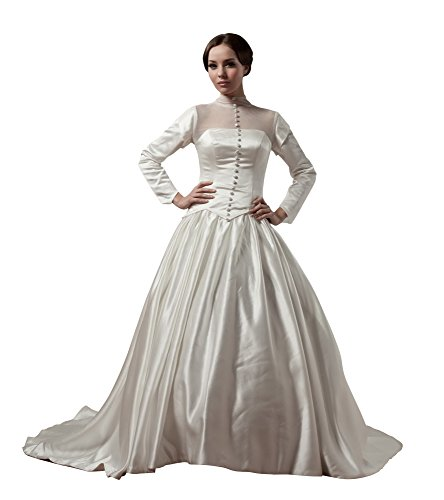 Vogue007 Womens High Neck Long Sleeve Satin Pongee Wedding Dress, ColorCards, 18 by Unknown