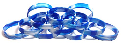 TheAwristocrat 1 Dozen Multi-Pack Blue & White Swirl Wristbands Bracelets Silicone Rubber - Select from a Variety of Colors (Blue & White Swirl, Adult (8