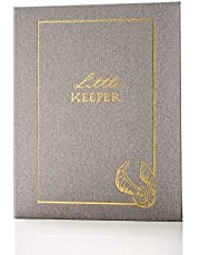 """Conquest Journals Harry Potter Little Keeper Baby Album, Capture Magical Memories from Baby Shower Through Age 5, Grey Linen Cover with Lay Flat Spiral, 9"""" x 11 1/2"""", 66-Guided Journal Pages"""
