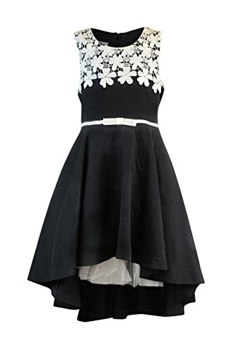 Bonnie Jean Big Girls 7-16 Sleeveless Lace belted High low Dress - Black Party Dress (14, Black/White)