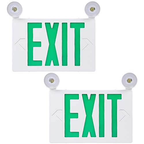 Green Letters Exit Sign - TORCHSTAR Green LED Exit Sign with UL Listed Emergency Light, AC 120V/277V, Battery Included, Top/Side/Back Mount Sign Light, for Hotels, Restaurants, Shopping Malls, Hospitals, Pack of 2