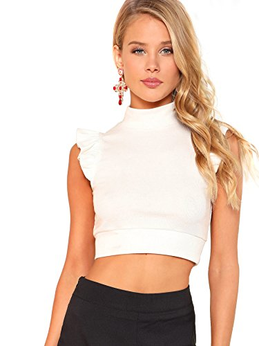 WDIRA Women's Summer Stand Collar Ruffle Armhole Rib Knit Vest Top Blouse White L by WDIRA