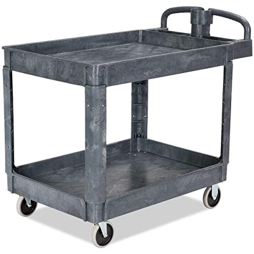 Goplus 2-Shelf Utility Cart/Service Cart with Wheels, 550 LBS Capacity Heavy Duty Plastic Rolling Utility Cart Tub Carts w/Deep Shelves, Great for Warehouse, Garage, Cleaning (43