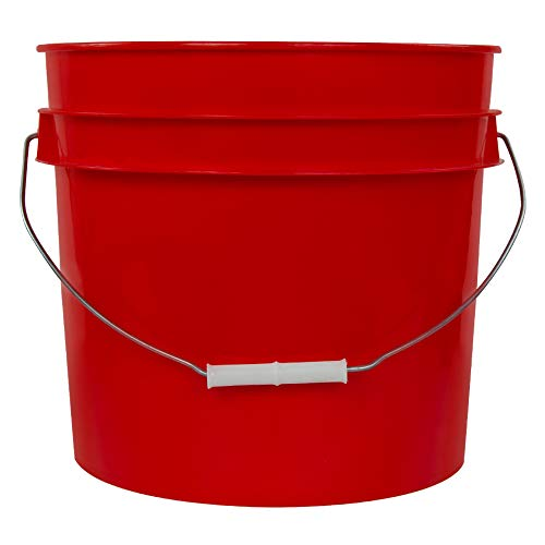 (3.5 Gallon Red High Density Plastic Bucket with Tear Tab Lid (4 Buckets))
