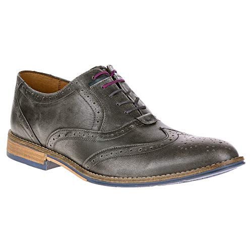 Sheepskin Hush Puppies - Hush Puppies Men's Style Brogue Oxford, Grey Smooth Leather, 9 M US