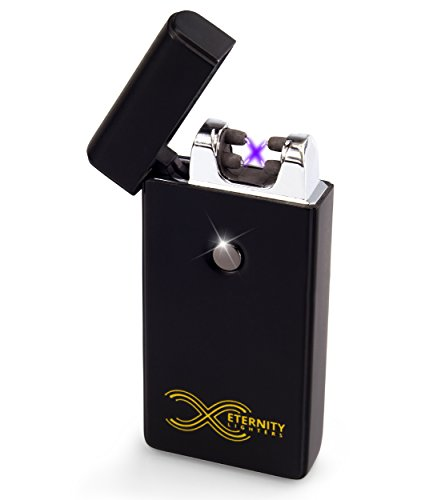 ETERNITY-Lighters-Flameless-Electronic-Rechargeable-Windproof-Premium-Cigarette-or-Candle-Lighter-with-Dual-Arc-USB-Cord-Brush-and-Bag-in-Gift-Box-Black-Matte