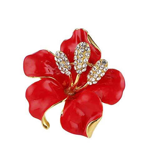 seven wolves Women's Crystal Breastpin Wedding Flower Bouquet Brooch Rhinestone Crystal Party Flower Brooch, Red