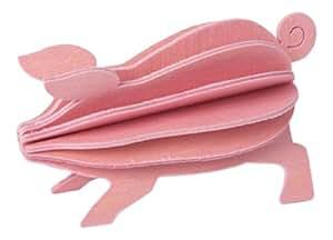 Lovi Postcard - Tarjeta puzzle, de madera, diseño de cerdo 3D, color rosa