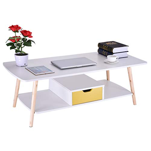 ErYao Shipped from USA, White Coffee Table, Cocktail Table, Mid-Century Modern Accent Table with Storage Shelf or Drawer for Living Room, Rectangular Sofa Table (White with Drawer)
