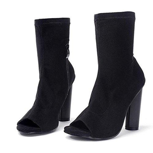GAOLIXIA Sandalias de cuero de arranque de las mujeres peep toe Hollow elástico tacones altos de tela negro marrón Black