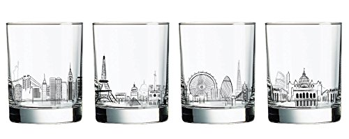 Luminarc 4 Piece Skylines 13.25 oz Assorted Decorated Double Old Fashioned, Clear (Wine Glass Skyline)