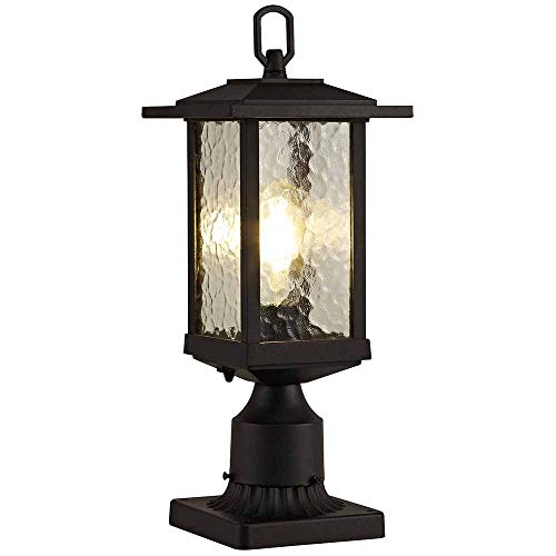 (Outdoor Post Lights, Cast Aluminum Post Light Fixture, One-Light Pole Mount Light with Water Glass Panels, Matte Black Finish)