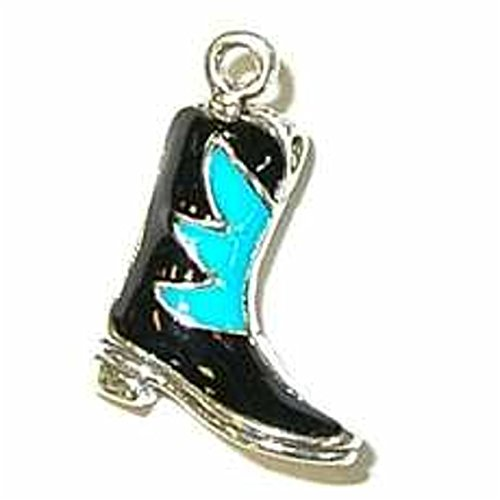 Sterling Silver 3D Enameled Black And Blue Green Cowboy Boots Charm by Auntie's Treasures