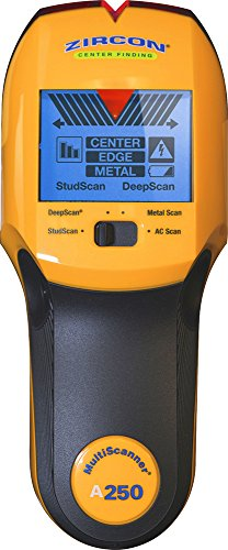 Zircon Stud Finder Pro/DIY 4 in 1 MultiScanner A250 Wall Scanner; Stud/DeepScan Modes Detect Edges/Center of Wood/Metal to 1 ½