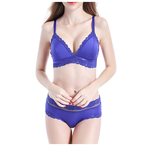 Sexy Lingerie,Women's Floral Embroidered Strappy Lace Bra Deep-V and Panty Set Babydoll Underwear Blue