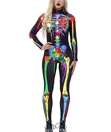Idgreatim Women Halloween Cosplay Costumes Colorful Skeleton Pattern Stretch Tight Long Sleeve Bodysuit Catsuit L