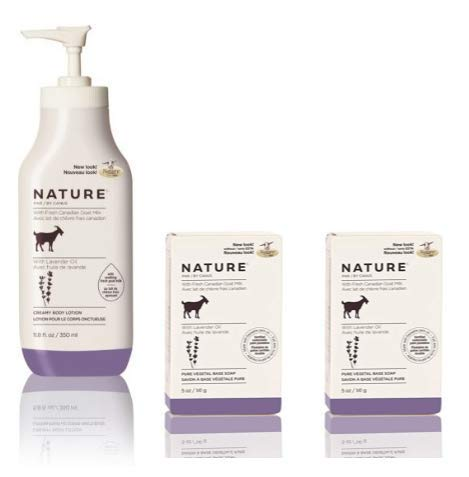 Goat Milk Lotion Base - Caprina by Canus Nature Lavender Oil Moisturizing Lotion and Nature Pure Vegetal Oil Base Soap Lavender Oil (Pack of 2) Bundle with Goat Milk, Soybean Oil, and Lavender Oil, 11.8 oz. and 5 oz.
