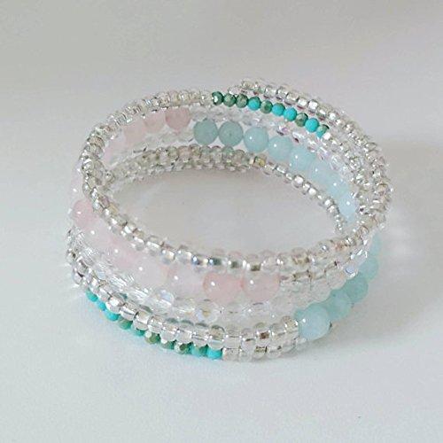 Multi Strand, Memory Wire Gemstone Bracelet, Handmade Bracelets, Gemstone Beaded Bracelets, Spring Bracelets, Handmade - Strand Gemstone Bracelet