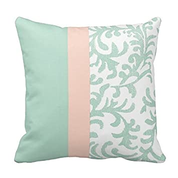 Amazon.com: Joy City verde menta y Peach Pink Floral patrón ...