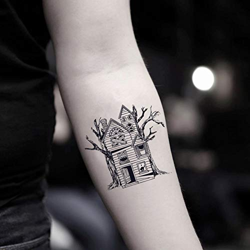 (Haunted House Temporary Fake Tattoo Sticker (Set of 2) -)