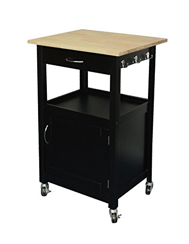 (eHemco Kitchen Island Cart Natural Wood Top with White Base (Black))